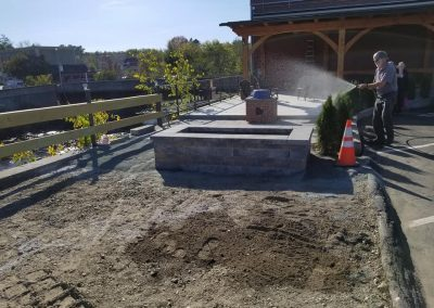 Four Seasons Landscaping NH VT ME Leo J Enos hardscaping commercial Lancaster National Bank Building Lancaster New Hampshire Vermont Maine planter patio guardrail