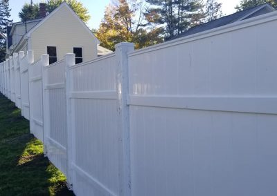 white fence at a house