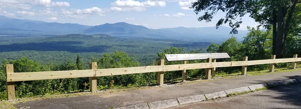 Four Seasons Landscaping NH Leo Enos hardscape guard rail Lancaster NH Weeks State Park East Overlook commercial hardscaping construction
